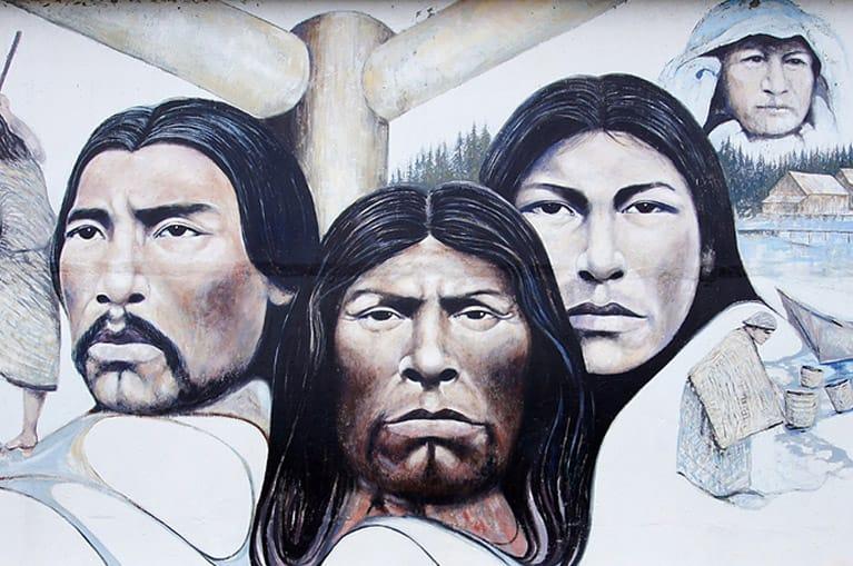 Painting of three people