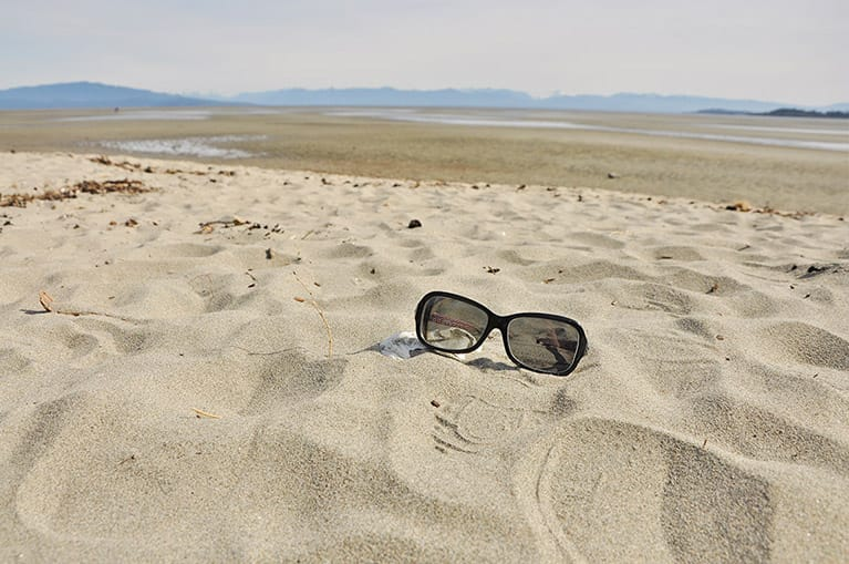 Sunglasses in the sand on Rathtrevor Beach