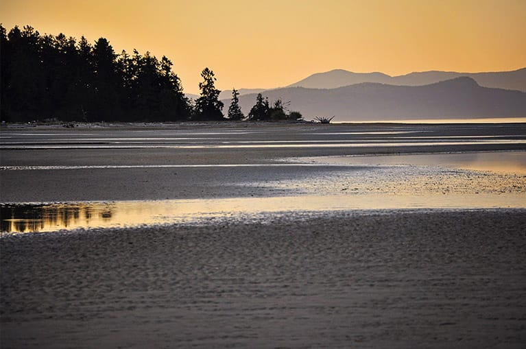 Rathtrevor Beach in Parksville at sunset